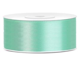 Satijn lint munt groen 25 mm