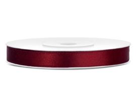 Satijn lint bordeaux 6 mm