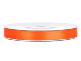 Satijn lint oranje 6 mm
