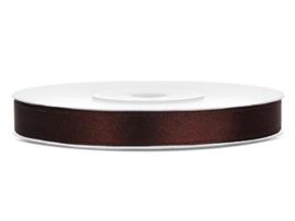 Satijn lint bruin 6 mm