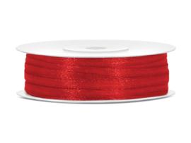 Satijn lint rood 3 mm op 50 m