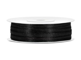 Satijn lint zwart 3 mm op 50 m