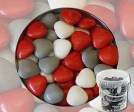 Suikerbonen hartjes rood mix emmer 450 gr