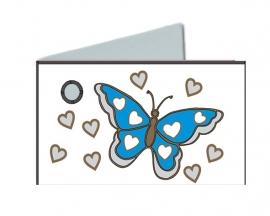 Naamkaartjes Effen turqoise+turqoise vlinder 8 pakjes 32st