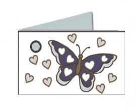 Naamkaartjes Effen marine blauw+marine blauwe vlinder