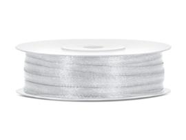 Satijn lint licht grijs 3 mm op 50 m