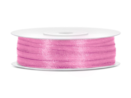 Satijn lint roze 3 mm op 50 m