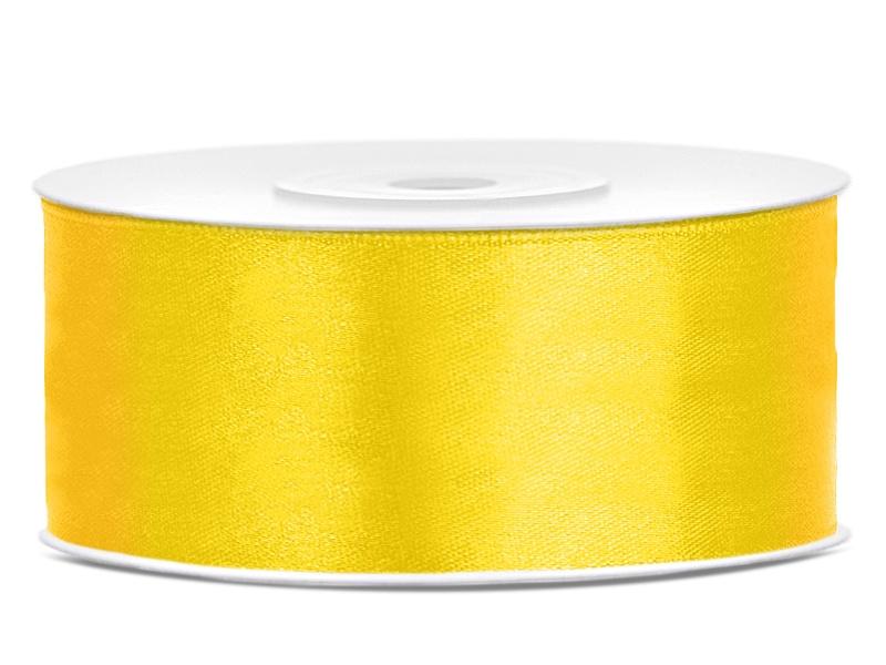 Satijn lint geel 25 mm
