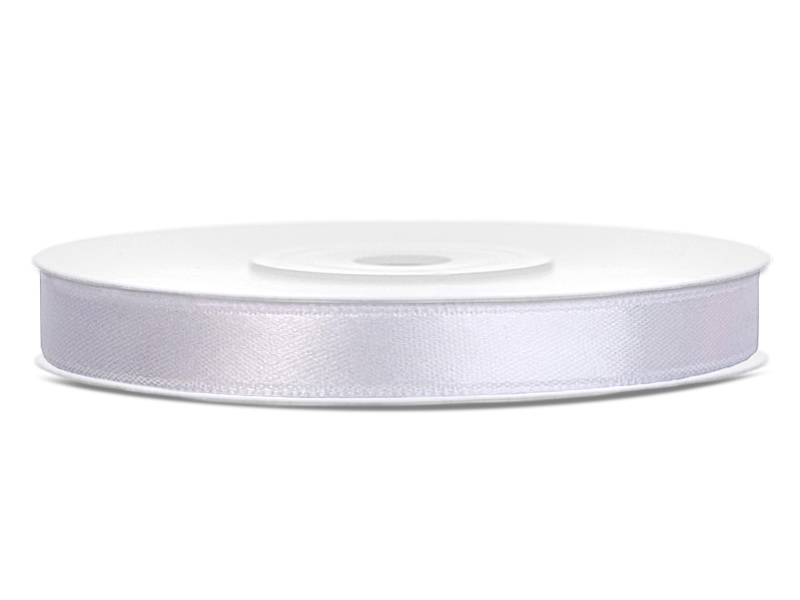 Satijn lint wit 6 mm