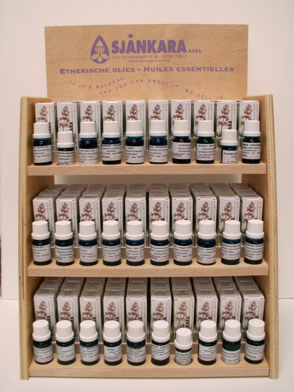 Houten Display met 120 flesjes  + 30 snuffelflesjes