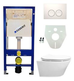 Geberit UP100 + Vesta wandcloset + Flatline zitting + drukplaat en isolatieset