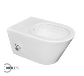 Luxe rimless wandcloset 53 cm met ingebouwde bidetkraan wit