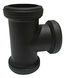 mat zwart koppel-teestuk 32mm tbv vloerbuis