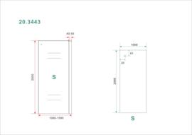Side zijwand voor Softclose 2.0 schuifdeur 110 cm 8 mm Nano