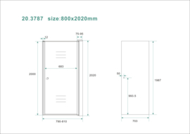 Wiesbaden nisdeur met profiel 80x202 8mm NANO rookglas