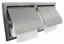 Sunk dubbele inbouw toiletrolhouder met klep RVS