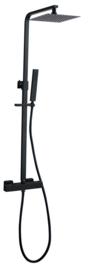 Rombo-Eco Twenty douche-opbouwset + thermostaatkraan mat-zwart