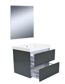 Vision meubelset (incl. spiegel) 60 cm hoogglans grijs