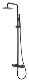 304 RVS douche-opbouwset + therm. kraan matzwart