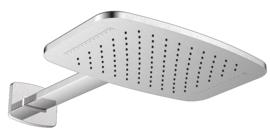 Wiesbaden waterval hoofddouche met douchearm mat-zwart of geborsteld staal 40,4x25,4cm