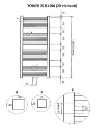 Wiesbaden Tower sierradiator 119x60 cm 732 watt antraciet