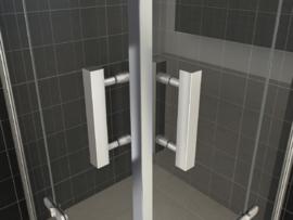 Wiesbaden douchecabine hoekinstap met 2 draaideuren (90x90 cm) 8 mm glas