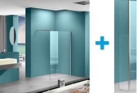 ONE PACK: Wiesbaden Eco inloopdouche met muurprofiel + zijwand met hoekprofiel (80, 90, 100 of 120 cm)  8 mm glas
