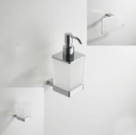 Wiesbaden Eris accessoireset 2: glashouder met glas, zeepdispenser en handdoekring, chroom