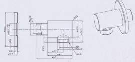Wiesbaden muur- doucheaansluiting, chroom of geborsteld staal