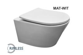 Wiesbaden Vesta rimless wandcloset mat-wit + Shade zitting mat-wit
