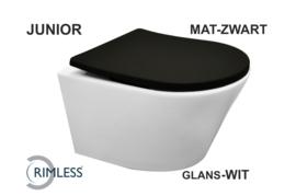 Wiesbaden Vesta-Junior rimless wandcloset wit+ Shade zitting mat-zwart