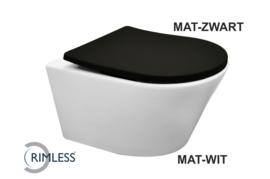 Wiesbaden Vesta rimless wandcloset mat-wit + Shade zitting mat-zwart