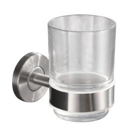 Wiesbaden 304 glashouder rond met glas RVS