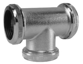 Wiesbaden koppel-teestuk 32 mm (tbv vloerbuis) chroom