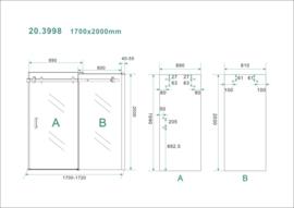 Schuifbare nisdeur 2-d. 170x200 cm chr.8mm NANO