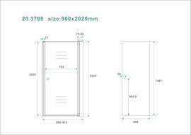 Wiesbaden nisdeur met profiel 90x202 cm 8mm NANO rookglas