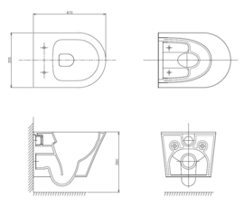 Wiesbaden Vesta Junior rimless wandcloset 47 cm + Vesta softclose zitting