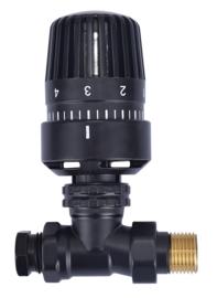 Thermostatische radiatorventiel 1/2''x15mm recht mat-zwart