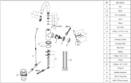 Wiesbaden Caral opbouw wastafelmengkraan met clickplug en draaibare uitloop (22,9 cm) chroom