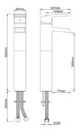 Wiesbaden Rombo wastafelkraan met watervaluitloop (32,5 cm) chroom