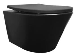 Vesta rimless wandcloset + Shade zitting mat-zwart