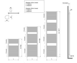 Wiesbaden Elara sierradiator 118,5x60 cm wit, antraciet of chroom