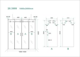 Schuifbare nisdeur 4-d. 180x200 cm chr.8mm NANO