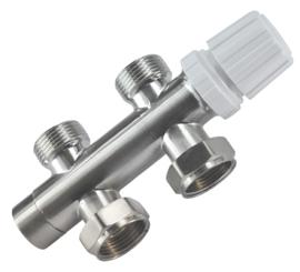 Riko thermostatisch 3/4 onderblok recht geborsteld staal