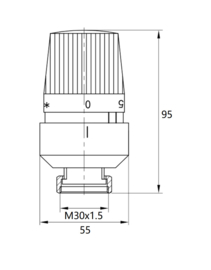 Thermostatische radiatorventiel 1/2''x15mm axiaal mat-zwart
