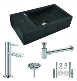 Hardstenen fontein 40x22x10 cm links of rechts + Amador XL toiletkraan