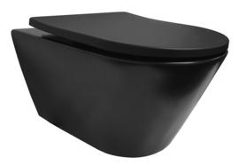 Stereo rimless wandcloset 53cm + shade zitting mat-zwart