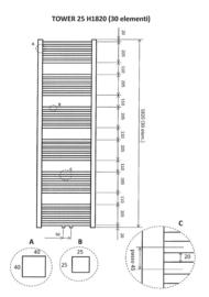 Wiesbaden Tower sierradiator 182x60 cm 1098 watt antraciet