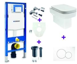 Geberit UP320 + Carré NANO wandcloset en zitting + drukplaat, isolatieset en bevestigingsset