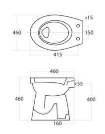 Staande, verhoogde toiletpot +6 AO